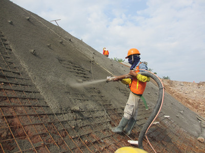 Shotcrete machine used for slope project in Indonesia