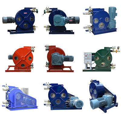Hose pump for pumping oil sludge, heavy fuel oil sludge