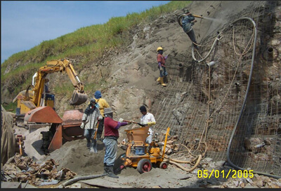 Shotcrete machine for slope-protection project
