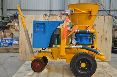 Yellow colour refractory gunning machine for Indonesia customers