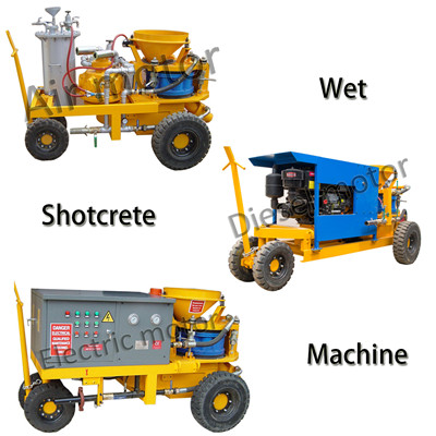 Wet shotcrete machine in tunnel construction