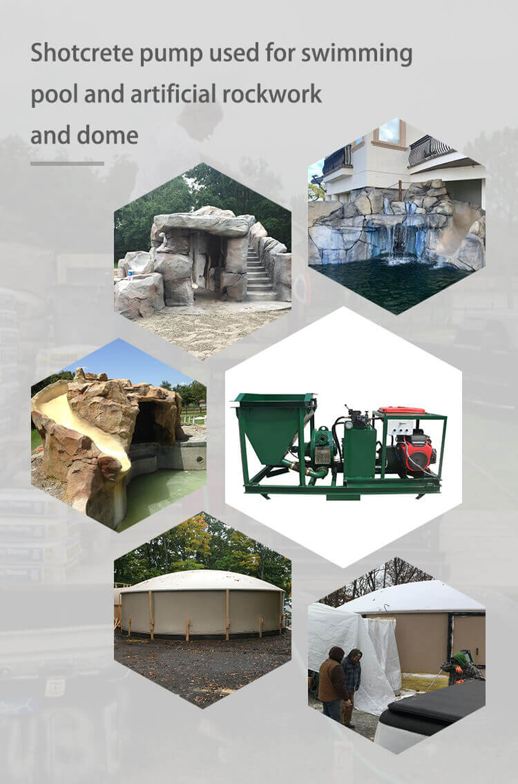 shotcrete machine used for dome building project, swimming pool project